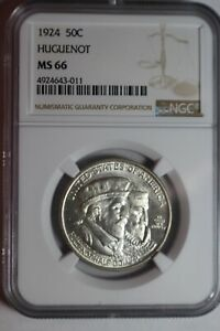 1924 Huguenot Silver Commemorative Half Dollar NGC MS66 #011