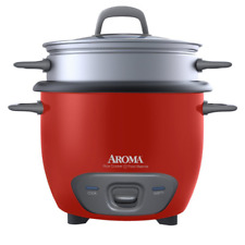 """Aroma 6-Cup (Cooked) Pot Style Rice Cooker and Food Steamer, Red"""