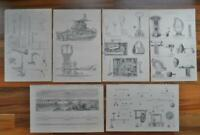 Antique prints - 19th century Victorian era prints of old machinery Engineering
