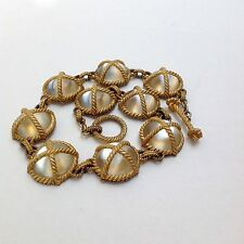 Amazing Vintage Gold Tone Twisted Rope Victorian Magnifying Glass Dome Necklace