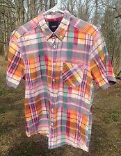 Asos Men's Shirt M 38-40 Cotton Button Down Short Sleeve Plaid Made in India EUC