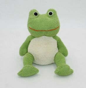"""Fiesta 14"""" Terry Cloth Frog Stuffed Animal Soft Baby Toy White Belly Plush Toy"""