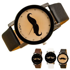 Mustache Crystal Imitation Leather Quartz Personal Wrist Watch For Men Women