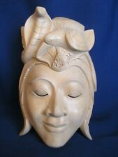 ** Wooden Craft Carved Sculpture SNAKE WOMAN Wall Mask Bali Balinese Arts 9.25""