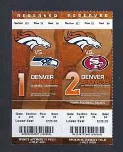2012 NFL SEAHAWKS & 49ERS @ BRONCOS FULL FOOTBALL TICKETS - MANNING / WILSON