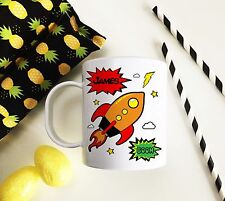Personalised Plastic Unbreakable Kids Cup, Toddler Cup Comic Strip Boys Rocket