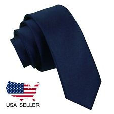 NEW Solid Navy Blue Color Men's Wedding Business Wide Neck Tie USA SELLER