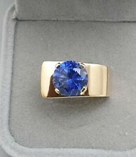 Vintage 9k Yellow Gold created Sapphire 3ct Carat Ring