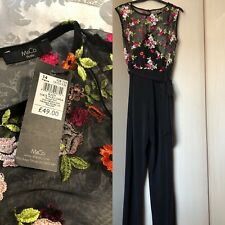 *BNWT M&CO BLACK ,FLORAL TOP, JUMPSUIT UK 14 PETITE .FAB *
