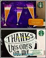 2x STARBUCKS 2015 2016 THANKS SPARKLING WINE GLASSES COLLECTIBLE GIFT CARD LOT