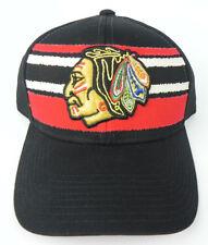 CHICAGO BLACKHAWKS NHL HOCKEY CCM 2-TONE BLACK/RED TRUCKER STRAPBACK CAP HAT NEW