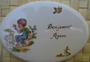 "Ceramic Tile Door Plate Name ""Benjamin's Room"""
