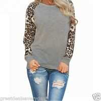Chic Leopard Splicing Round Neck Long Sleeve Casual Loose T-Shirt Tops