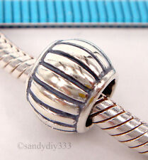 1x STERLING SILVER EUROPEAN CORRUGATED ROUND BRACELET CHARM SPACER BEAD #1561