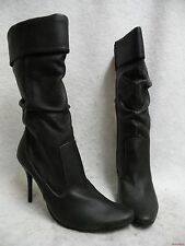 NWOB Charlotte Russe Spike Heel Slouch Cuffed Boots Black 6M