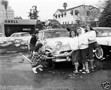 1958 Highs chool Girls Car Wash Cleaning 54 Mercury Sun Valley 5 x 7 Photograph