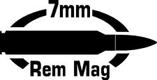 7mm REM MAG gun Rifle Ammunition Bullet exterior oval decal sticker car or wall