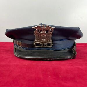 Vintage Obsolete New York Police Cap With Numbered Excelsior Badge