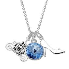 DISNEY CINDERELLA CARRIAGE/CRYSTAL/SHOE CHARMS NECKLACE~NEW~PRETTY!~RETAIL $60!!