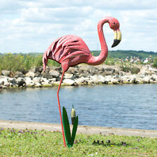 Metal Pink Flamingo Outdoor Garden Ornament Animal Statue Figure Decoration