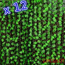 12pcs Green Manmade Ivy Leaf Plants Vine Fake Foliage Flowers Home Decor 7.87ft