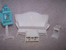 Vtg 1989 Barbie MTC White Wicker Outdoor,Garden, Patio Furniture Sofa Bird Cage