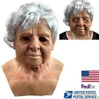 Old Women Latex Mask Halloween Cosplay Party Realistic Full Face Masks Headgear