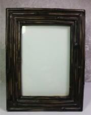 """Faux Bamboo Frame 4.5""""x6"""" Tabletop or Wall Mount Shades of Brown"""