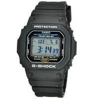 NEW* CASIO MENS G SHOCK SQUARE BLACK WATCH SOLAR POWER G5600E-1 RRP £129