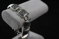 """Sterling Silver Domed Rectangle Adjustable Link Bracelet Toggle Clasp 8"""""""