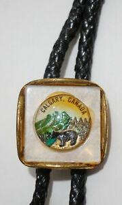 Vintage Calgary Canada w Glass Insert of Black Bear Bolo Tie