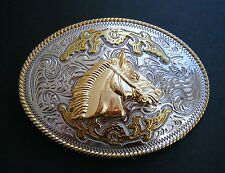 Two Toned Gold Silver Horse Horsehead Western Buckle Boucle de Ceinture