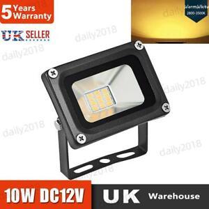 Black LED Floodlight Outside Light 10W Security Flood Lights Outdoor Garden 12V