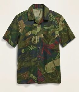 NWT Old Navy Printed Built-In Flex Camp Shirt for Boys XL (14-16) Olive Green