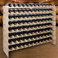 Stackable Wine Wooden Rack 96 Bottles Mount Holder Kitchen Exhibition Organizer