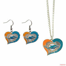 New NFL Miami Dolphins Swirl Heart Necklace & Earring 3pcs Set Jewelry