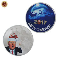 WR 2017 Merry Christmas SILVER Coin Donald Trump Funny Xmas Gifts For Kid Boys