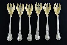 Set Of 6 Gorham Chantilly 925 Sterling Silver Gold Wash Ice Cream Forks 5 3/8""