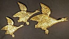 SET OF 3 BRASS WALL MOUNTED MALLARD DUCKS MADE IN ENGLAND C.1960'S V G CONDITION