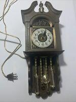 Rare Vintage Spartus Electric Pendulum Wall Clock Brown Plastic Mod #5486 WORKS!