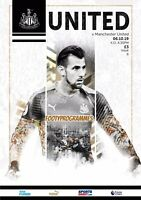 NEWCASTLE  UNITED V MANCHESTER UNITED PREMIER LEAGUE PROGRAMME 2019/20
