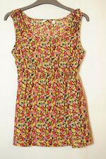 PINK RED YELLOW BLACK FLORAL TOP BLOUSE SIZE 10 NEW LOOK