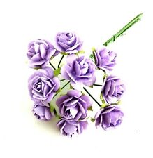 10 pieces Miniature flowers roses purple mulberry paper crafts wedding bouquet