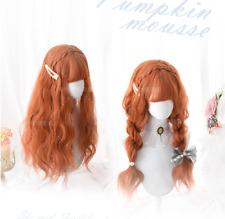 Anime Harajuku Daily Girl Lolita Orange Long Curly Hair Cosplay Costume Full Wig