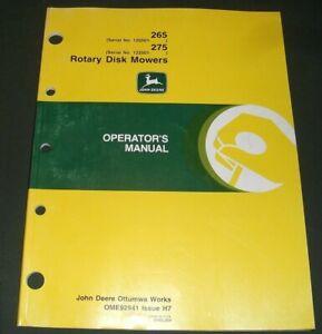 JOHN DEERE 265 275 ROTARY DISK MOWER OPERATION & MAINTENANCE MANUAL ORIGINAL