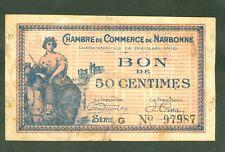 NECESSITE 50 CENTIMES CHAMBRE COMMERCE DE NARBONNE  ETAT: TB- Lot 53