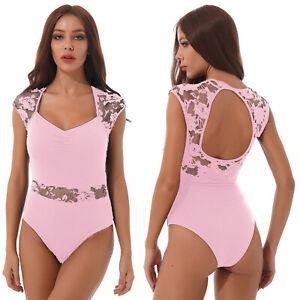 Women's Adult Lace Patchwork Bodysuit Gym Stretchy Cap Sleeve Dance Leotard