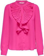 Women ONLY Blouse Pink Pleat Flounce Long Sleeve High Neck Medium 50%Off RRP £40