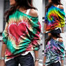 ❤️ Women's Off Shoulder Tie Dye Pullover Blouse Casual Long Sleeve T-shirt Tops