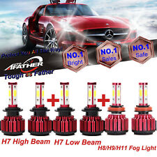 1200W H7+H7+H11 Led Car Headlight Bulbs Kit High Low Beam+Fog Lights 6000K White(Fits: Isuzu)